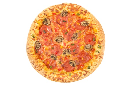 calorific: Whole pepperoni pizza top view on a white background