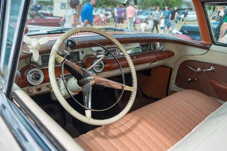 farm shop: WINDSOR, BERKSHIRE, UK- Augsut 4, 2013: Interior of a 1958 Buick Limited Classic car on show at Windsor Farm Shop International Classic Car Show in August 2013