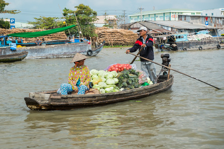 CAN THO, VIETNAM - JANUARY 26: Boat in the floating market on the Mekong river on January 26, 2014 in Can Tho, Vietnam.