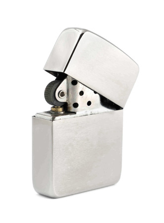 Silver zippo lighter isolated on a white background photo