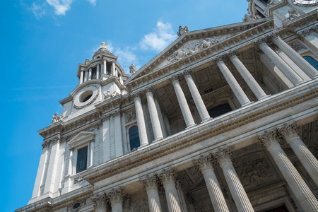 LONDON, UK - MAY 3, 2014: Front view of St Pauls Cathedral, a Popular tourist location in London in May 2014