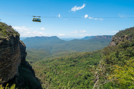 australia jungle: Cable car at Scenic World in the Blue Mountains, Australia. Stock Photo
