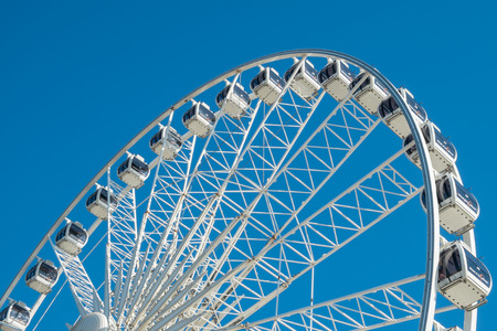 BRIGHTON, UK - JULY 28: A view of the wheel on Brighton seafront, now a popular tourist attraction. In July, 2013.