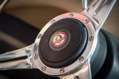 BERKSHIRE, UK - AUGUST 3, 2014: Close up view of a steering wheel of a classic Cobra in August, 2014. Editorial