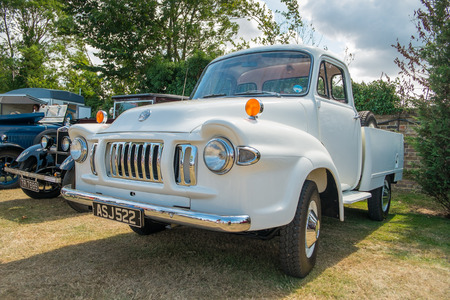 WINDSOR BERKSHIRE UK AUGUST 3 2014: A White Bedford TJ Classic Truck on show at a Classic Car Show in August 2013.
