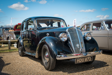 WINDSOR BERKSHIRE UK AUGUST 3 2014: Black Austin 14 on show at a Classic Car Show in August 2013. Editorial