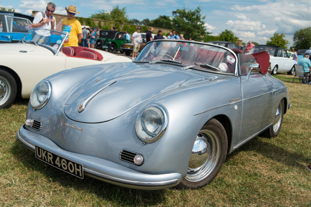 WINDSOR BERKSHIRE UK AUGUST 3 2014: ABlue Porsche 356 Speedster on show at a Classic Car Show in August 2013.