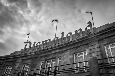 WESTON-SUPER-MARE, UK - SEPTEMBER 3 2015: The sign at the entrance to Banksys Dismaland Bemusement Park. A five week show in the seaside town of Weston-Super-Mare. Editorial
