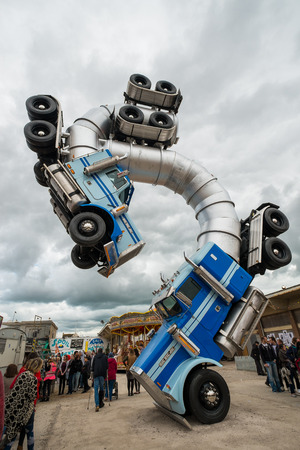 WESTON-SUPER-MARE, UK - SEPTEMBER 3 2015: Big Rig Gig sculpture by Mike Ross at Banksys Dismaland Bemusement Park. A five week show in the seaside town of Weston-Super-Mare. Editorial