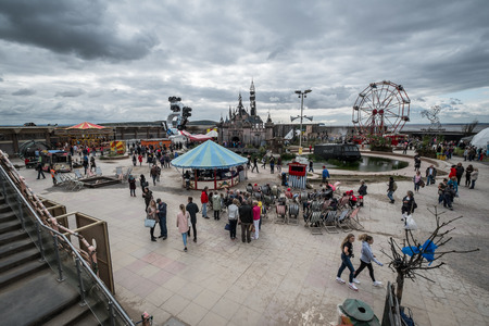 seaside town: WESTON-SUPER-MARE, UK - SEPTEMBER 3 2015: View of  the whole site at Banksys Dismaland Bemusement Park. A five week show in the seaside town of Weston-Super-Mare. Editorial