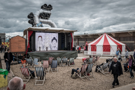 WESTON-SUPER-MARE, UK - SEPTEMBER 3 2015: Outdoor Cinema at Banksys Dismaland Bemusement Park. A five week show in the seaside town of Weston-Super-Mare.