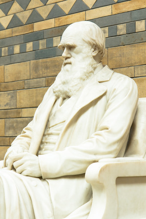 LONDON, UK - APRIL 28 2013: Statue of Charles Darwin in the Main Hall at the Natural History Museum. With over 70 million specimins on display it is one of Londons most popular visitor attractions.