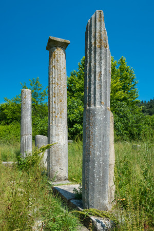 history architecture: Pillars at an ancient Greek Ruins site. Stock Photo
