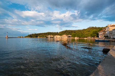 Beautiful sunset at the Port in the Town of Limnas in Thassos, Greece. Stock Photo