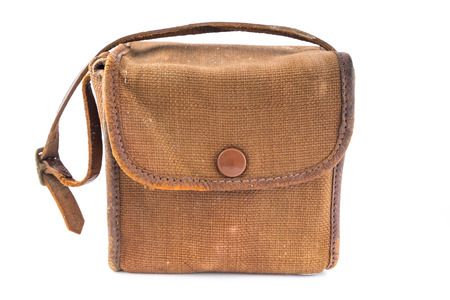Small Vintage Brown Canvas Camera Bag over white. Stock Photo