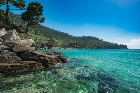 Beautiful rocky Greek coastline.