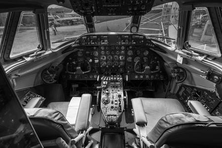 vickers: WEYBRIDGE, SURREY, UK - AUGUST 9, 2015: Interior view of a vintage Vickers 806 Viscount aeroplane cockpit at Brooklands Motor Museum in August 2015.