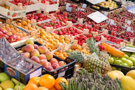vegtables: Fresh organic fruit and vegtables on a market stall. Stock Photo