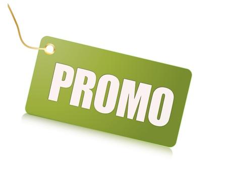 Promo green label Фото со стока
