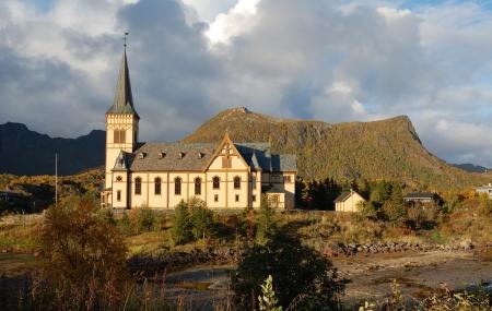 scandinavian landscape: Vagan Church in Lofoten Islands, Norway Stock Photo