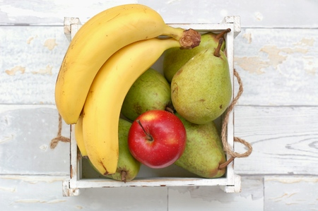 Fruits on the wood background, overhead background