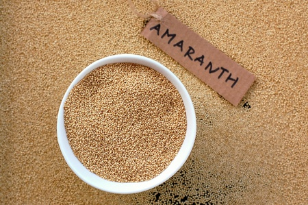 coeliac: Amaranth in the white bowl, overhead view