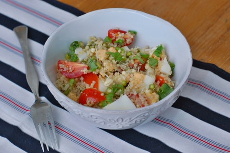 coeliac: Salad with quinoa, tomato, egg, mung bean and basil, front horizontal view