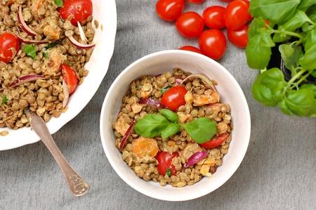 coeliac: Salad with lentils, onion, tomato, carrot and basil, overhead horizontal view