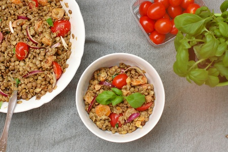 coeliac: Salad with lentils, onion, tomato, carrot and basil, overhead horizontal view