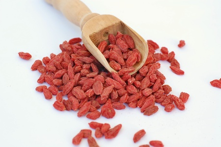 Chinese goji on the white background, front horizontal view