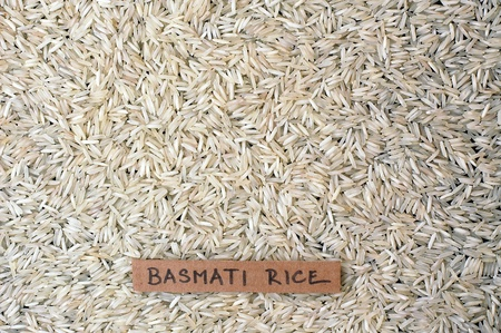 coeliac: Background from basmati rice with the label, overhead horizontal view Stock Photo