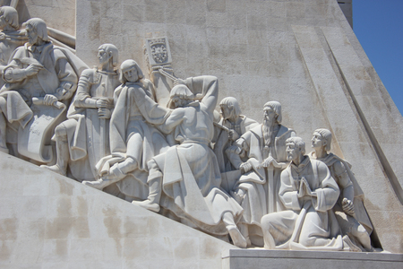 detailed sculptures of monument of the discoveries (padrao dos descobrimentos) in belem, lisbon, portugal