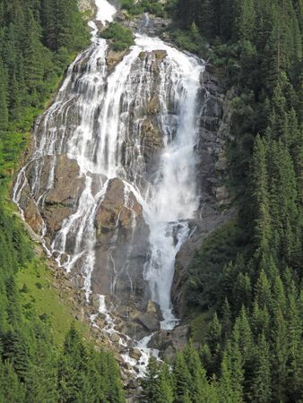 Awesome waterfall in the swiss mountains