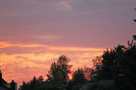Coloured sunset on a summer evening