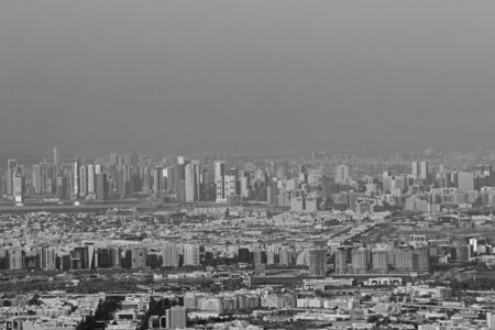 Stunning view over the city of dubai - black and white Imagens
