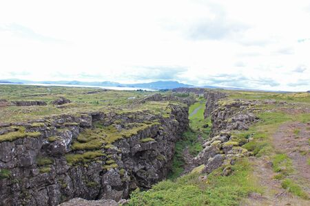 rift between the eurasian and the north american tectonic plate in iceland (Almannagjá)