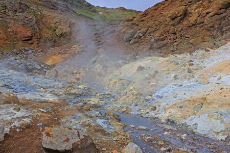 Impressive hot pool from seltun in iceland