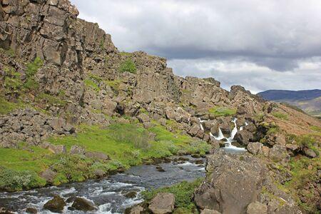 river between lava walls at the thingvellir national park Zdjęcie Seryjne