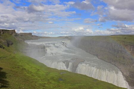 Gulfoss waterfall in iceland on a sunny day