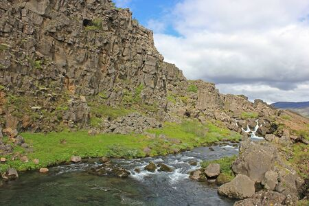 river at the thingvellir national park in iceland Stok Fotoğraf