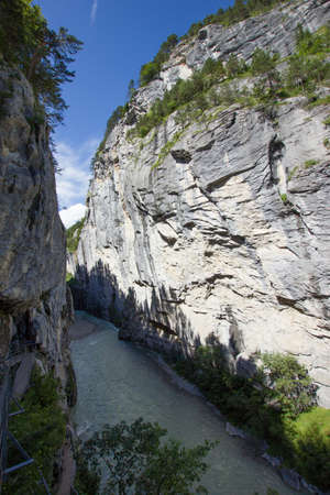 Impressive valley of the river aare in the beautiful swiss alps