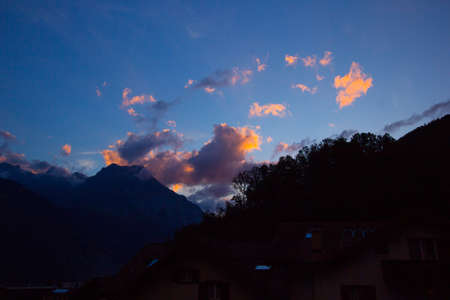 colorful sunset in the swiss mountains after a beautiful day