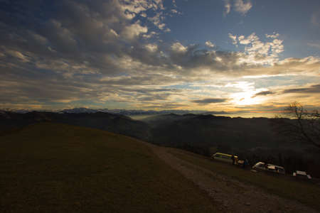 Impressive sunset seen from the mountain Hoernli