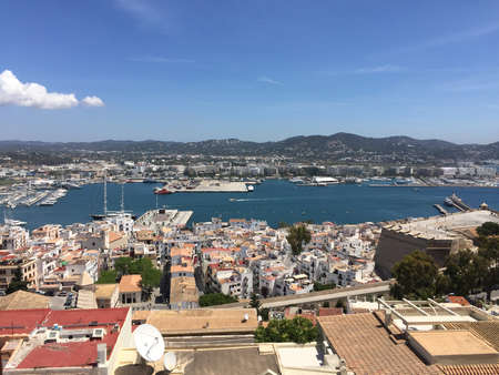 Panorama view over the spanish cit of Ibiza