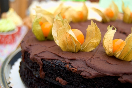 phisalis: Dark chocolate cake with chocolate cream and decorated with orange phisalis fruit