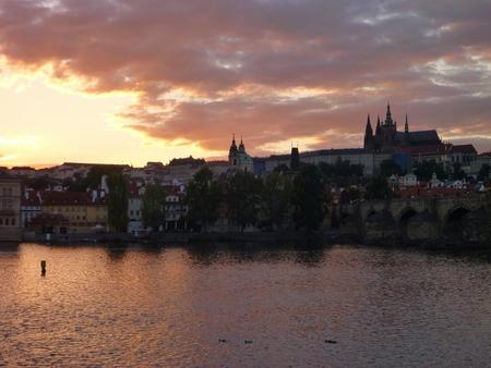 vltava: Panorama of Prague castle ana Vltava river in sunset time