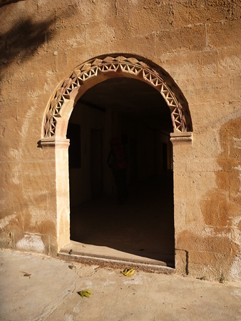 arcade: arched arcade in abandoned collegion in perge in turkey Stock Photo