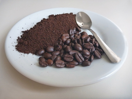 milled: a milled coffee on a white plate with spoon