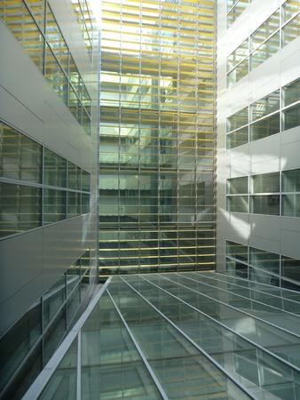 atrium: empty glass atrium of a modern office buildind