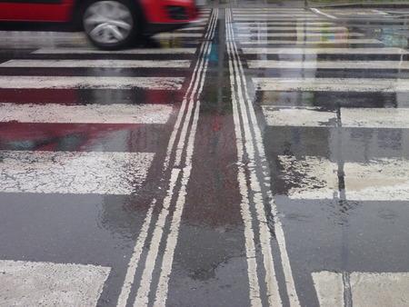 torrential: a wet asphalt street in a rainy weather
